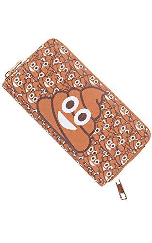 Clutch Emoji Wallet Pattern PU Leather Funny Emoji Brown CCFW Eye IFqFd