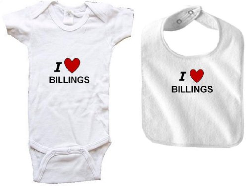 I LOVE BILLINGS - BILLINGS BABY - 2 Piece Baby-Set - City-series - White Baby One Piece Bodysuit / Baby T-shirt and White Bib - size Newborn (0-6M) Battle 4 Piece Body