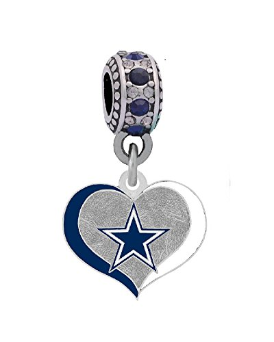 Final Touch Gifts Dallas Cowboys Swirl Heart Charm Fits European Style Large Hole Bead Bracelets -