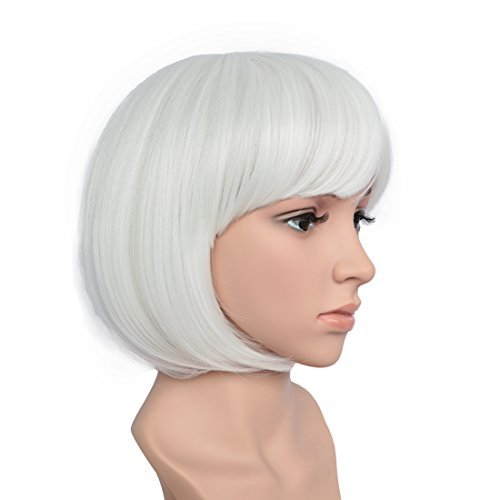 BESTUNG Short Straight Bob Hair Wigs with Flat Bangs for Women White Synthetic Heat Resistant Cosplay Party Costume Hair Wig ()