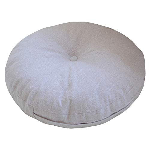 Novwang TMJJ Natural Linen Round Floor Pillow Seating Cushion with Removable Zippered Cover Room Décor Pouf for Meditation, Yoga by Novwang