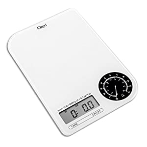 Ozeri ZK18-WB Rev Digital Kitchen Scale with Electro-Mechanical Weight Dial, Black Dial