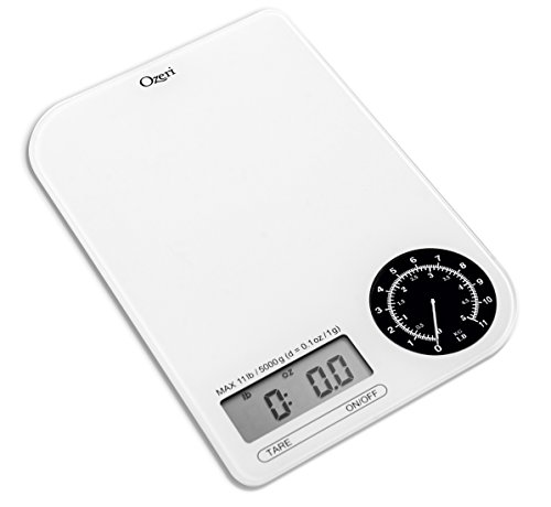 Ozeri ZK18-WB Rev Digital Kitchen Scale with Electro-Mechanical Weight Dial