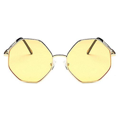 sol al Amarillo de Color UV Amarillo Marco Viajar las libre Protección Polígono de mujeres Gafas de Gafas de exquisitas metal sol aire de pequeño para conducir 4zwTaqT