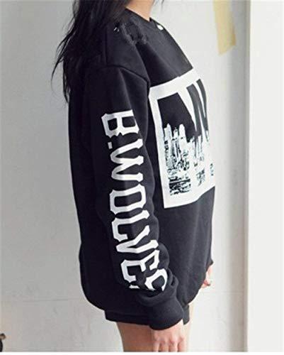 Large Marque Bolawoo Pull Longues Mode Imprimer De À Schwarz Streetwear Tops Sweats Hiver Femmes Casual Sport Automne Col Sweatshirts Manches Rond Lettre Élégant OwOZr4zq