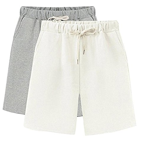 cf204b1fd3 HOW'ON Women's Soft Knit Elastic Waist Jersey Casual Bermuda Shorts with Drawstring  Grey/