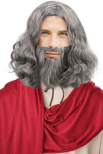 Verabella Men's Jesus Hair Wigs and Beard Set for Halloween Cosplay Costume,Grey