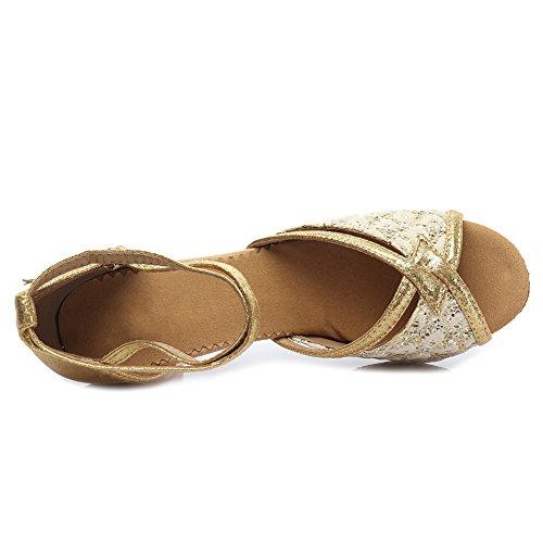 HROYL Women MF5-18185 Leather Latin/Modern/Chacha/Samba Dance Shoes Ballroom 5CM Gold 0CsTuE1BA6