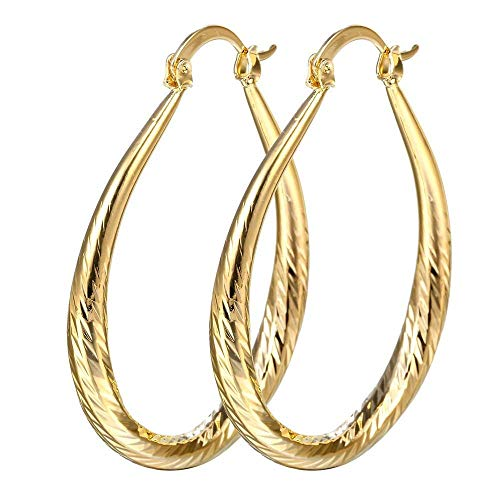 (SOSUO Women Elegant 18k Yellow Gold Filled Stud Hoop Dangle Earring Wedding Jewelry )