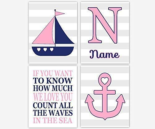 Nautical Baby Girl Nursery Decor Pink Navy Blue Gray Grey Sailboat Anchor Love Waves Sea Personalized Name Art Nautical Baby Nursery Decor Prints SET OF 4 UNFRAMED PRINTS