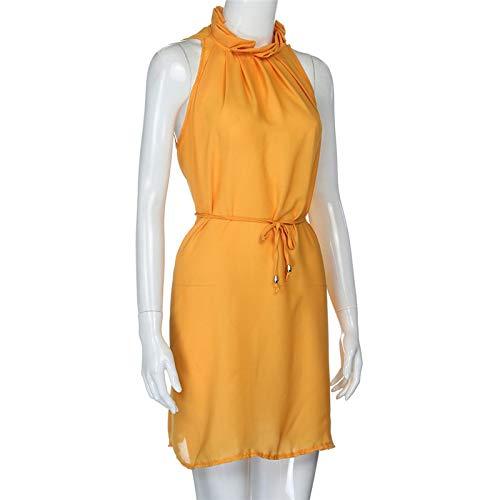 Dresses Elegant for Girls,Mlide Women's Sleeveless Summer Plain Pleated Dress Beach Party Casual Dress,Yellow XL by Mlide (Image #3)