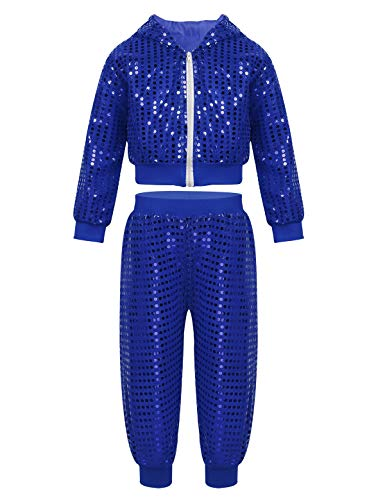 CHICTRY Kids Sequin Party Outfits Shiny Jackets&Pants Hip-hop Jazz Dancing Hooded Costumes Stage Performance Blue 4-5 -
