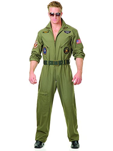 Charades Men's Wingman Flight Jumpsuit And Belt, Olive Green, Large