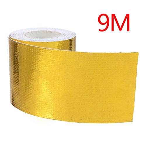 Ocamo Cinta Aislante de Calor para Tubo de Escape de Coche (Uso Universal), Gold 9m*5cm