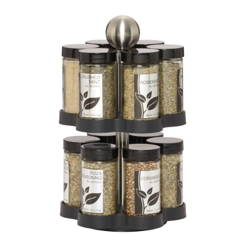 Kamenstein 5108304 Madison 12-Jar Revolving Countertop Spice Rack Organizer with Free Spice Refills for 5 Years ()