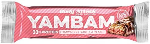 Restposten Body Attack YAMBAM Protein BAR TRAY, 15 x 80 g (Strawberry Vanilla Peanut)