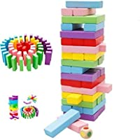 Pacificdeals 48 Pcs Wooden Digital Blocks 4 Dices Wooden Tumbling Stacking Jenga Building Tower Game (Colorful)