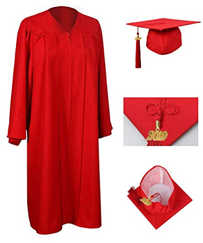 (GraduationRoyal Unisex Adult Matte Graduation Gown Cap Tassel with 2018 Year Charm For High School and College Bachelor Red)