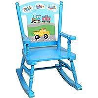 Wildkin Olive Kids Trains, Planes, Trucks Rocking Chair, Blue