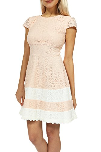 Teeze Me Juniors Cap Sleeve Round Neck Crochet Lace with Contrast Band Hem ()