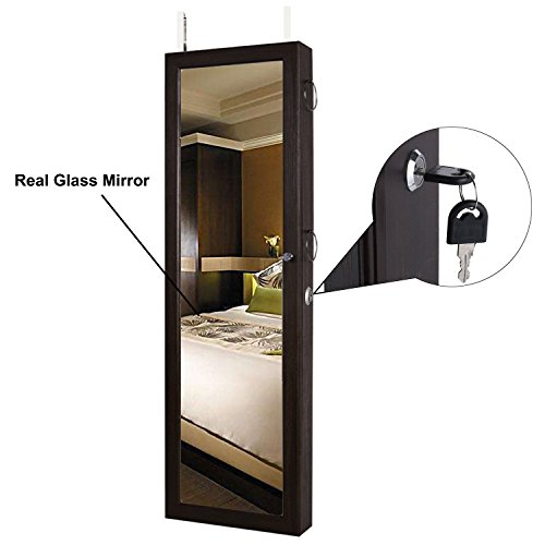 FDegage Jewelry Cabinet Lockable Wall Door Mounted Jewelry Armoire Storage Organizer with Full Length Mirror Valentine's Day Gift by FDegage (Image #3)