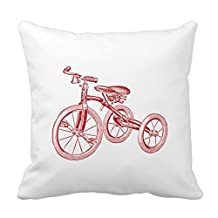 pillow perfect Decorative Cotton 18 X 18 Twin Sides Vintage Red Tricycle Pillowcases