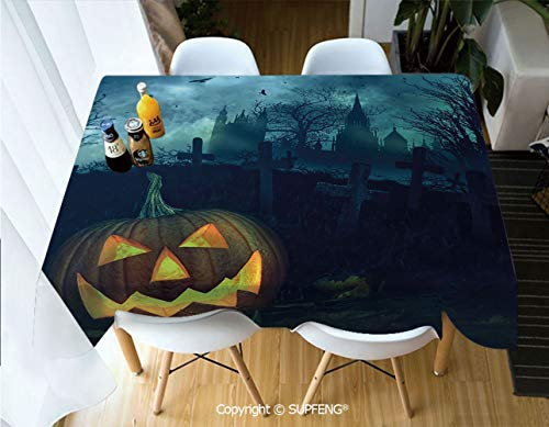 Picnic Tablecloth Halloween Pumpkin in Spooky Graveyard Eerie Gloomy Stormy Atmosphere (60 X 120 inch) Great for Buffet Table, Parties, Holiday Dinner, Wedding & More.Desktop Decoration.Polyester Wri -