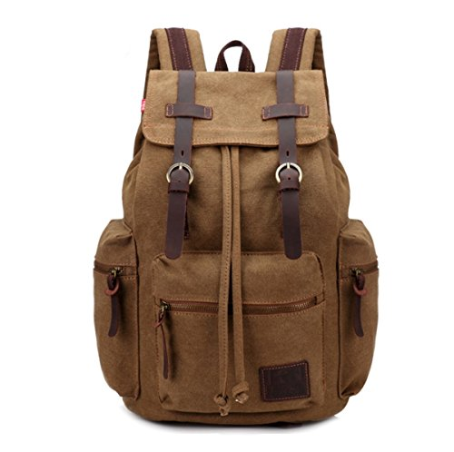 JSBKY Fashion Canvas Vintage Backpack Men Rucksack Leather Casual Bookbag (coffee) by JSBKY
