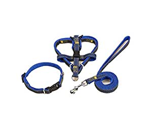 Dog Leash Harness adjustable & Durable Leash Set & Heavy Duty Denim Dog Leash Collar for Small, Medium and Large Dog, Perfect for Daily Training Walking Running-1.5X120CM (Navy Blue)