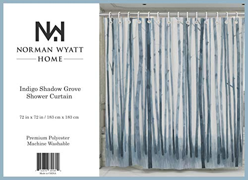 """Norman Wyatt Home Indigo Shadow Grove Print Polyester Fabric 72""""x72"""" Bathroom Shower Curtain with Hooks - 100 % Polyester INDIGO SHADOW GROVE COLORFUL SET- This exclusive print and high quality shower curtain is sure to impress. The unique and classic, art-inspired shower curtain is designed in the USA and digitally printed in at our manufacturing facility to create clean and vibrant images that will beautify your bathroom ODOR FREE- We use only premium polyester when manufacturing our high quality shower curtains. They are machine washable and 100% Mildew Resistant. - shower-curtains, bathroom-linens, bathroom - 415CyccND0L -"""