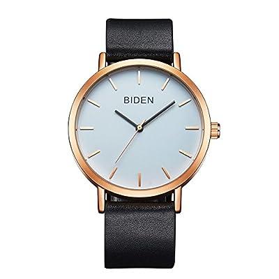 ALPS Womens Mens Unisex Waterproof Simple Casual Analog Quartz Leather Band Dress Wrist Watch (Rose Gold Black)