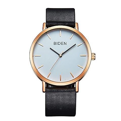 ALPS Womens Mens Unisex Waterproof Simple Casual Analog Quartz Leather Band Dress Wrist Watch (Rose Gold - Unisex Black Leather