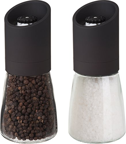 Trudeau Ceramic Grinder (Trudeau Maison Glass and Black 6 inch Pepper Mill with Ceramic Grinder and Salt Mill)