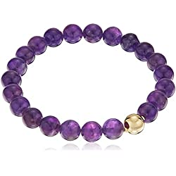 Genuine African Amethyst 8mm Bead with 18k Yellow Gold Plated Bronze Accent Bead Stretch Gemstone Bracelet, 6.5""