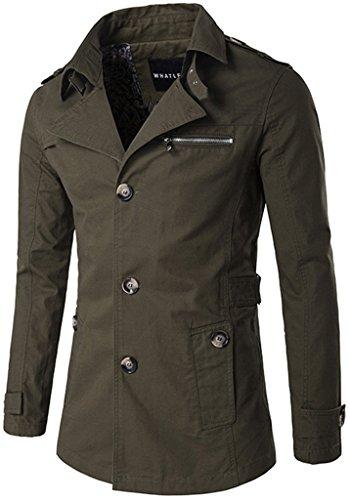 Whatlees Herren Design Lang geschnittenes winter Mäntel Trägershirt weicher Trenchcoat mit Knopfleiste funktion taschen B274-Green-L