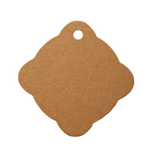 - LWR Crafts 100 Hang Tags Scalloped Diamond with Jute Twines 100ft (Kraft, 2