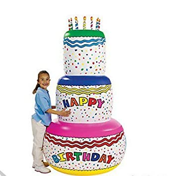 Magnificent Giant 6 Ft Inflatable Birthday Cake Amazon In Toys Games Funny Birthday Cards Online Fluifree Goldxyz