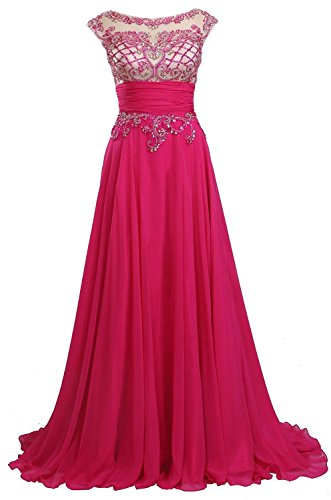 Evening Luxury Sleeve Gowns Long Cap Formal Fanciest Hot Dresses Prom Women's Pink Beaded 85qwxpaF