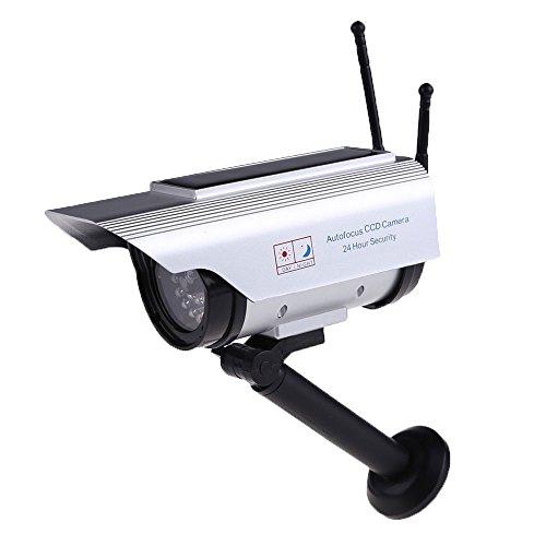 niceEshop(TM) Waterproof 2 Antennas Indoor Outdoor Solar Powered Dummy Security Camera(Silver)