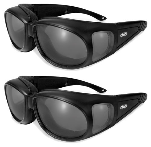 Two (2) Motorcycle Safety Sunglasses Fits Over Rx Glasses Smoke Meets ANSI Z87.1 Standards For Safety Glasses Has Soft Airy Foam Padding