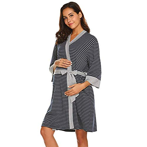 iLXHD Womens Maternity Pregnancy Labor Robe Delivery Nursing Nightgowns Hospital Breastfeeding Gown S-XXL -