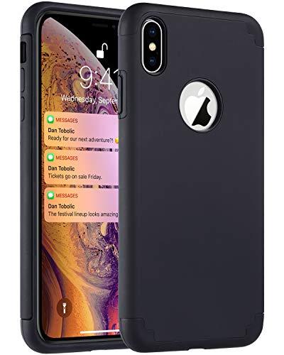 (ULAK iPhone Xs Max Case Black, Slim Fit Hybrid Soft Silicone Hard Back Cover Anti Scratch Bumper Design Protective Case for Apple iPhone Xs Max 6.5 inch 2018 (Black))