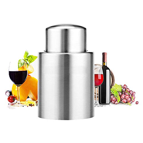 GiniHome Vacuum Wine Stoppers Sealers Preservers, Stainless Steel Vacuum Red Wine Bottle Stoppers, Vacuum Beverage Bottle Saver with Inner Rubber Sealer Pump Cup, Small, Silver by GiniHome