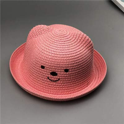 86cd4c781d0 Amazon.com  Home Children s hat Korean Version of The Bear Straw hat Baby  Shade Straw hat (Color   Hot Pink) Very Soft  Home   Kitchen