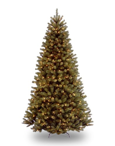 National Tree 7.5 Foot North Valley Spruce Tree with 550 Clear Lights, Hinged - Slim Christmas Trees