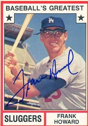 Frank Howard Autographed Replica 1982-10 Topps Brooklyn Dodgers Baseball Card - Autographed Baseball Cards