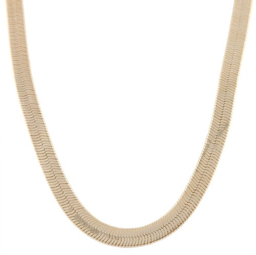 Goldtone 6mm 20 Inch Herringbone Chain Necklace (20 Inches) (P-120)