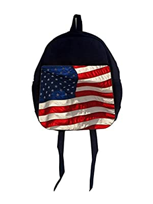 "American Flag - 13"" x 10"" Black Preschool Toddler Children's Backpack and Crayon Case Set"