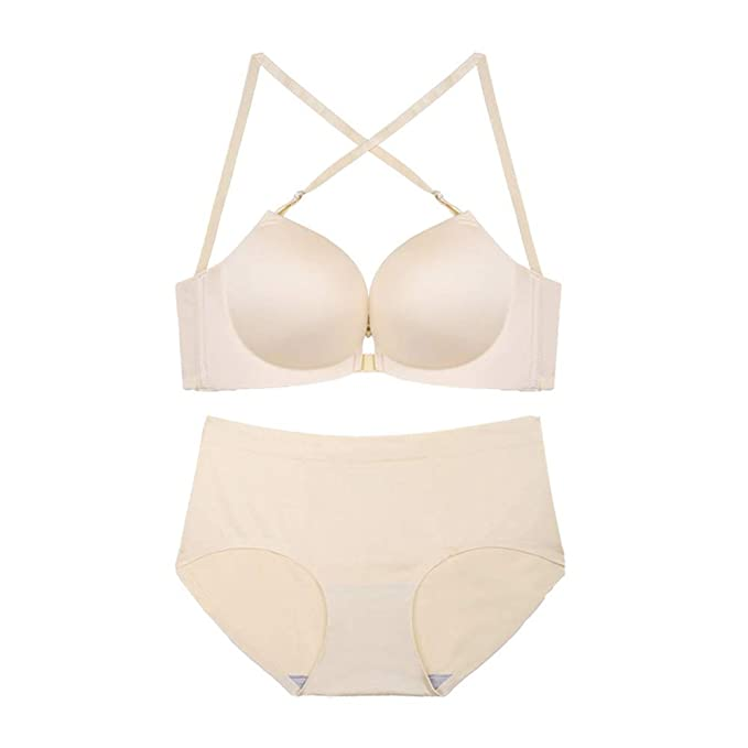 f9ddc43670186 Amazon.com  Weixiltc Women Japan-Korean Characteristic Smooth Surface  Gather Bra Set White  Clothing