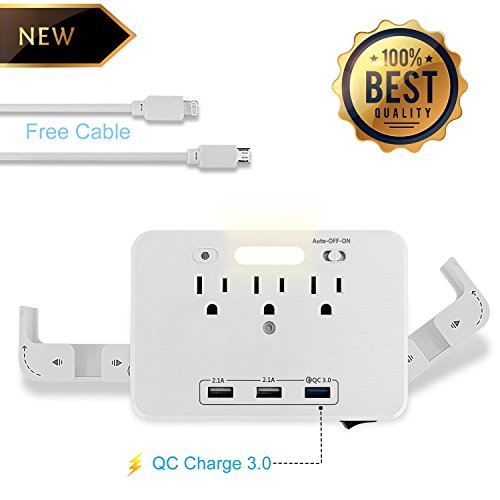 3-Outlet Wall Mount Surge Protector with Dual USB and Quick Charger 3.0 Charging Ports,LED Night Light Sensor for Office and Home.(White)